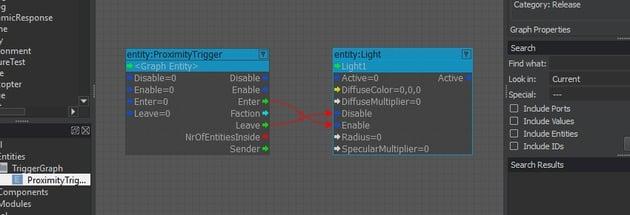 ProximityTrigger node connected to the Light node inside the node graph