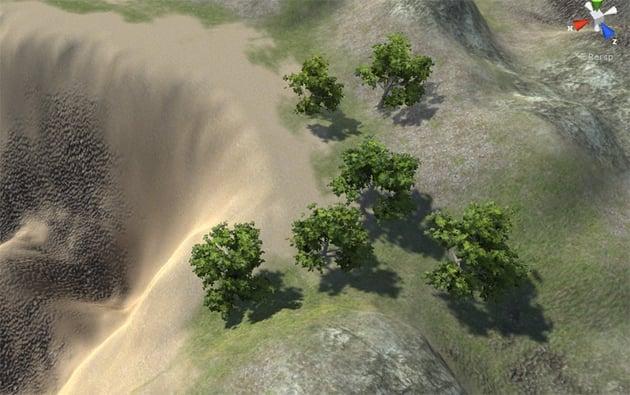 Paint Tree - Example of trees on terrain