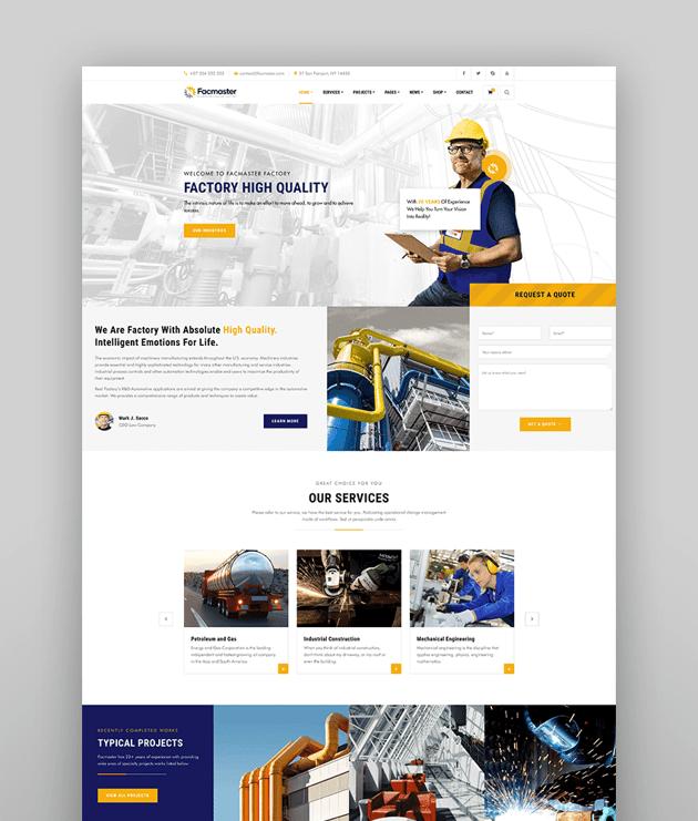 Facmaster - Factory  Industrial WordPress Theme