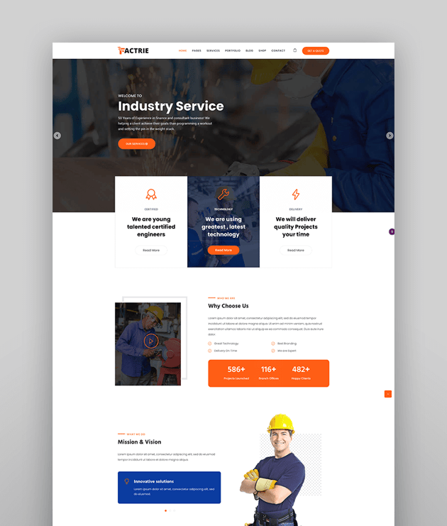 Factrie - Manufacturing  Industrial Factory WordPress Theme