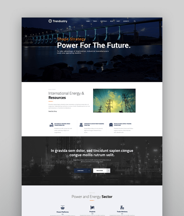 Trendustry - Industrial  Manufacturing WordPress Theme
