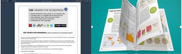 Screenshots of two WordPress PDF Viewers