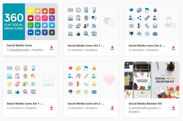Social Media Icons on Envato Elements