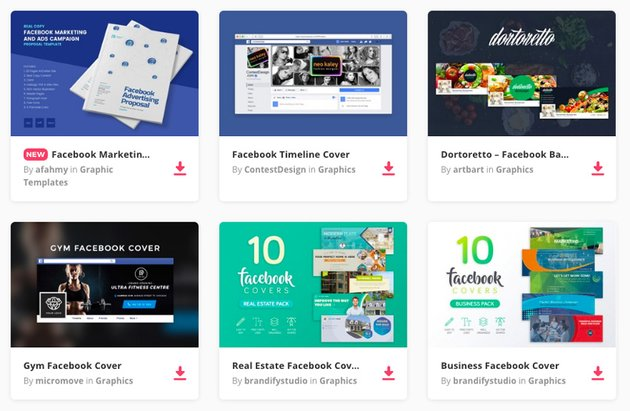 Facebook cover images available on Envato Elements