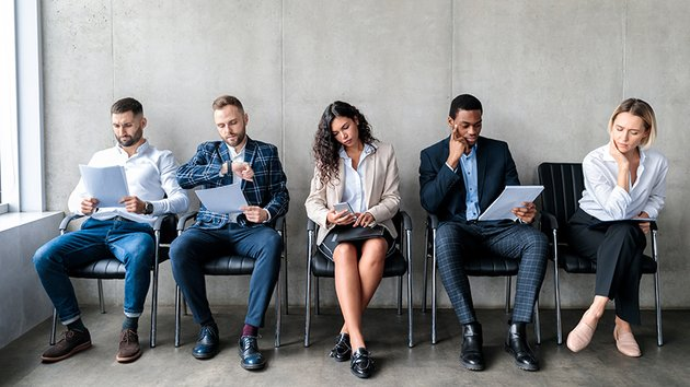Candidates waiting for a job interview