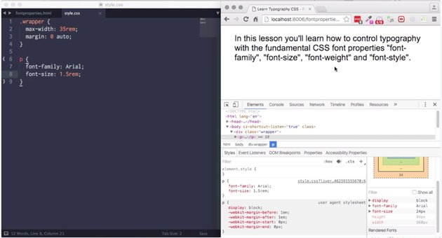 Screenshot from CSS typography course
