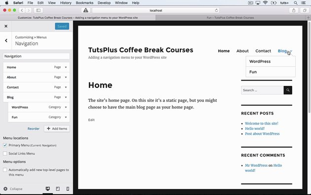 Site with WP Customizer menu open showing menu options