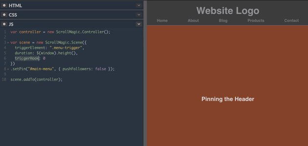 Pinning a menu bar to the top of the page