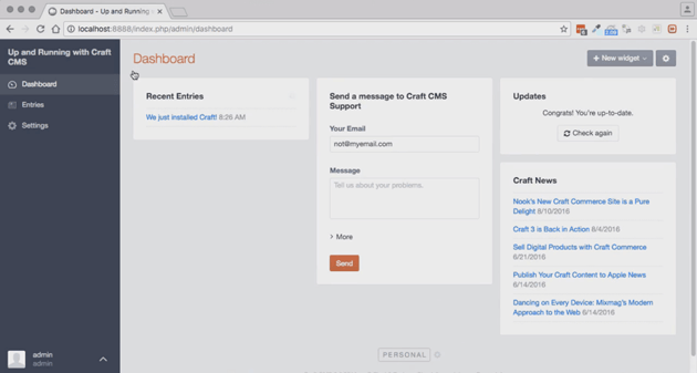 Dashboard page for new Craft CMS site