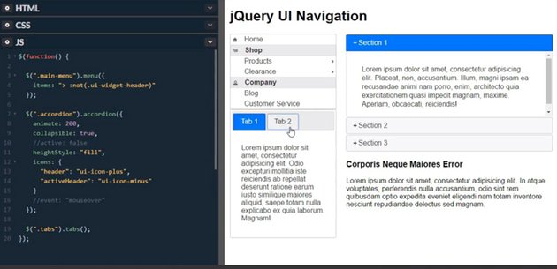 examples of jQuery UI navigation