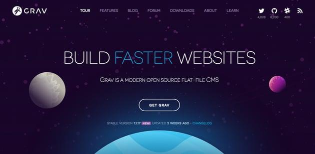 Grav CMS home page