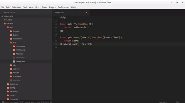Make your first route in Laravel 5