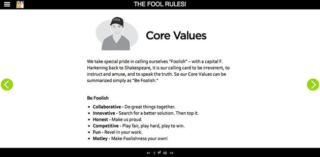 Screenshot from the Motley Fool online employee handbook