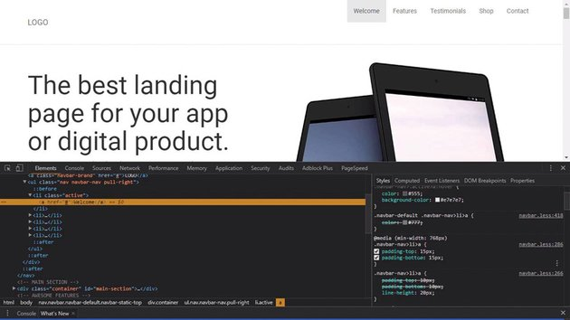 Styling a landing page header