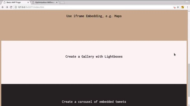 AMP site with messages about lack of JS