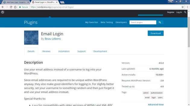 Email Login plugin