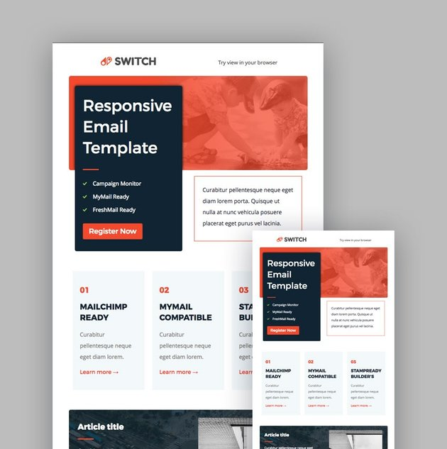 Switch email template