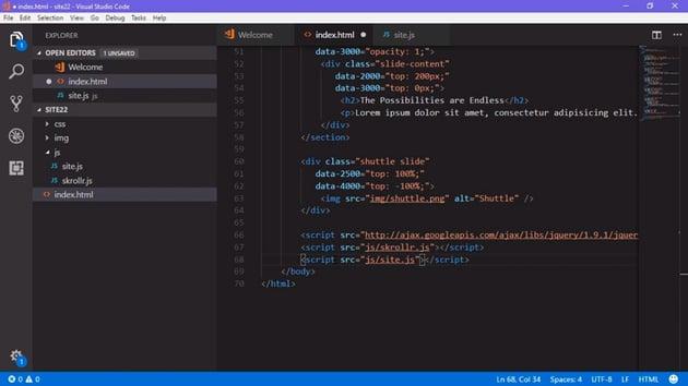 Script code in indexhtml