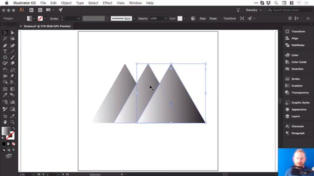 Three triangles with default black to white gradient