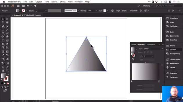 Triangle with the default black to white gradient