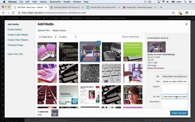 Screenshot of WordPress Add Media page
