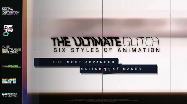 70 Glitch Title Animation Presets Pack