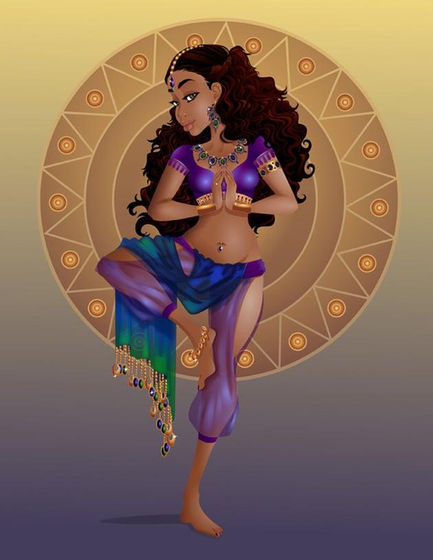 Yoga Goddess Stylized Portrait Illustration