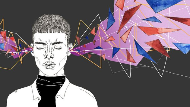 Stylized Portrait Illustration of a Person With Brightly Colored Shapes