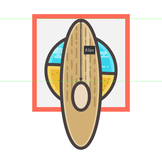 creating and positioning the center piece for the surfboard icon