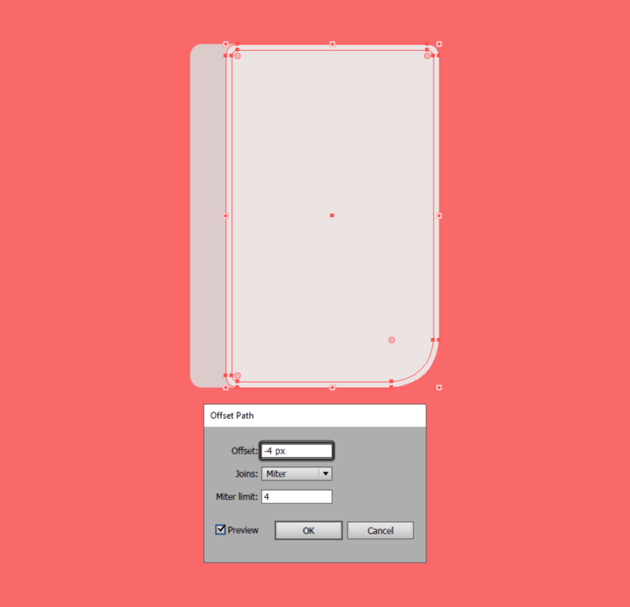 using the offset path tool to create the main highlight for the devices front section