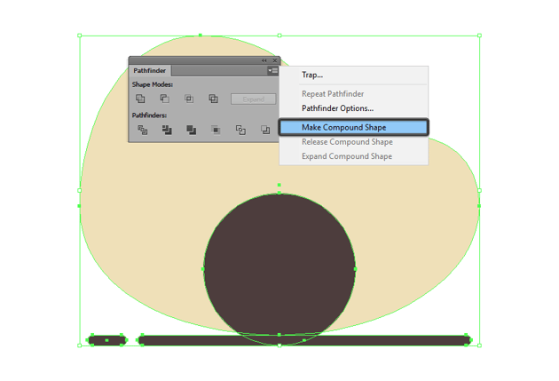 creating a compound shape using the pathfinder panel