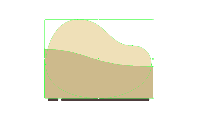 creating the sand dune using the pen tool