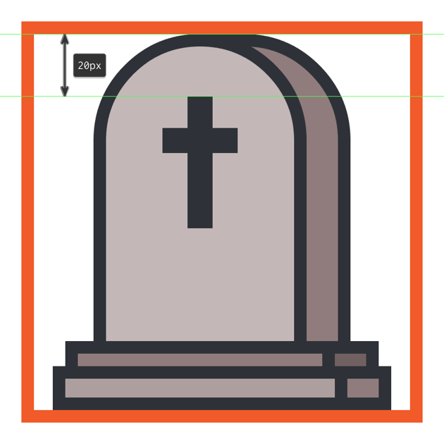 creating and positioning the cross onto the gravestone