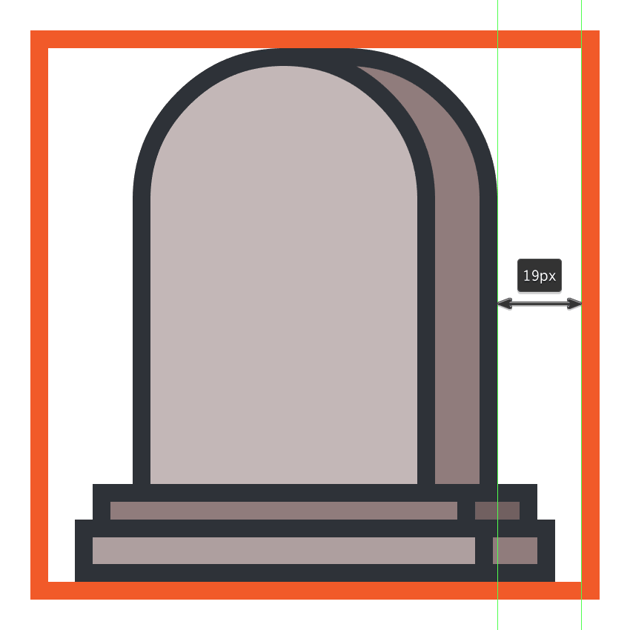 creating and positioning the gravestones side section