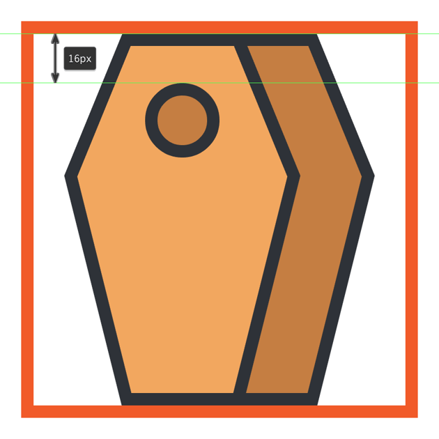 creating and positioning the main shapes for the coffins front facing hole