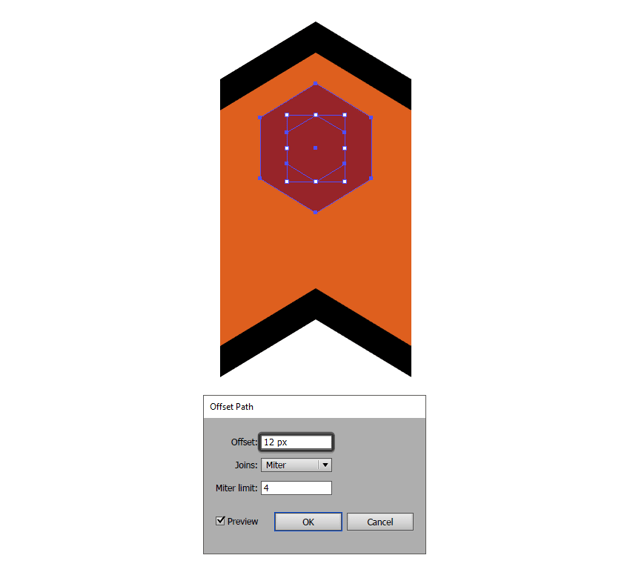 adding the outline to the repeating elements top hexagon detail