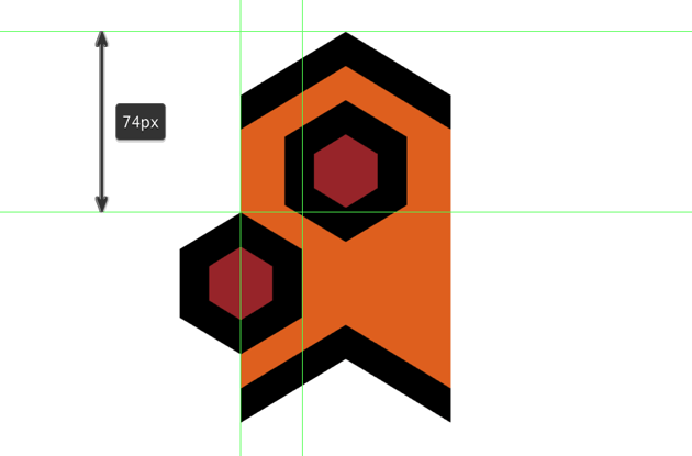 creating and positioning the second hexagon detail onto the repeating element