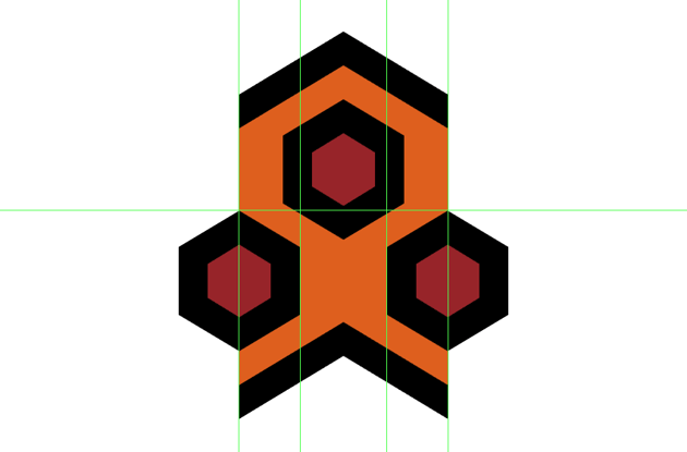 creating and positioning the third hexagon detail onto the repeating detail