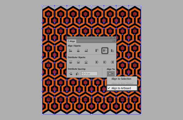grouping and positioning the patterns repeating rows to the center of the artboard