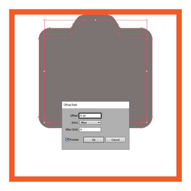 adding the outline to the cameras front section using the offset path method