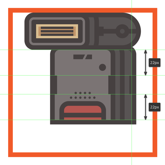 adding the vertical detail line to the side section of the flashs lower body
