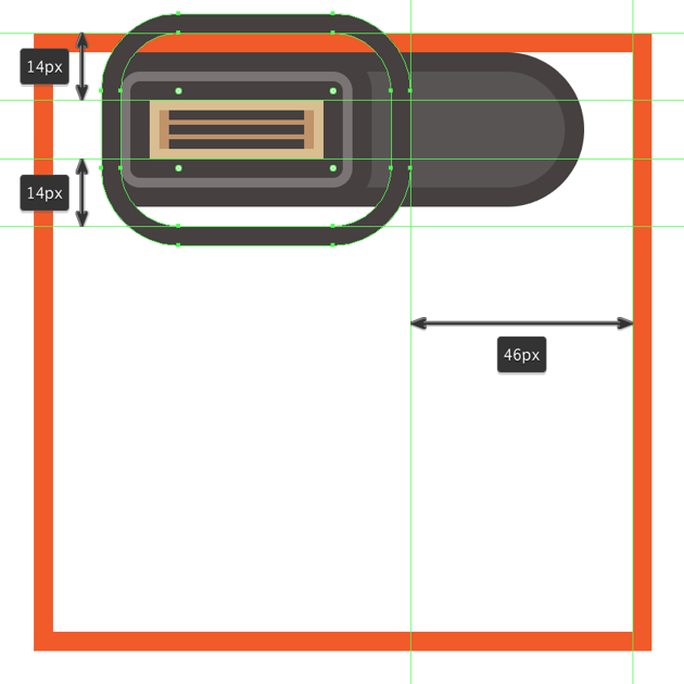 adding the vertical divider line to the side section of the flash