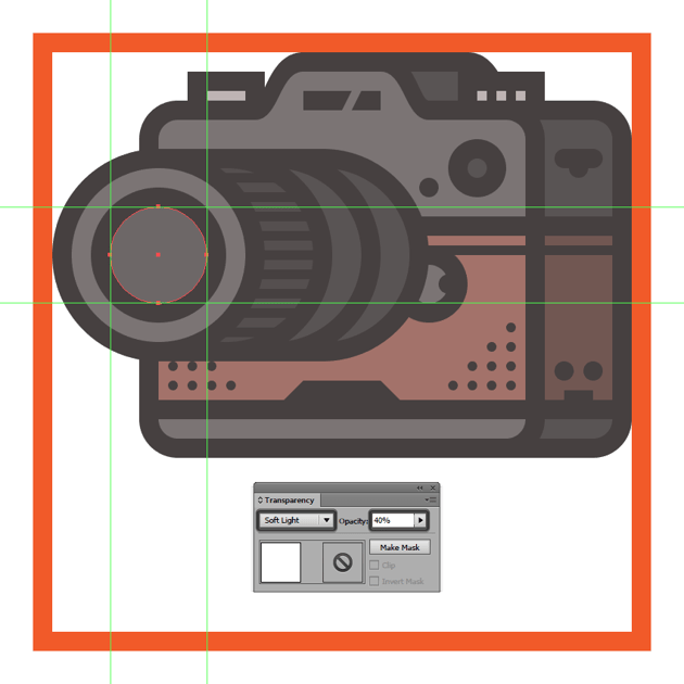 creating and positioning the main shape for the cameras lens reflection