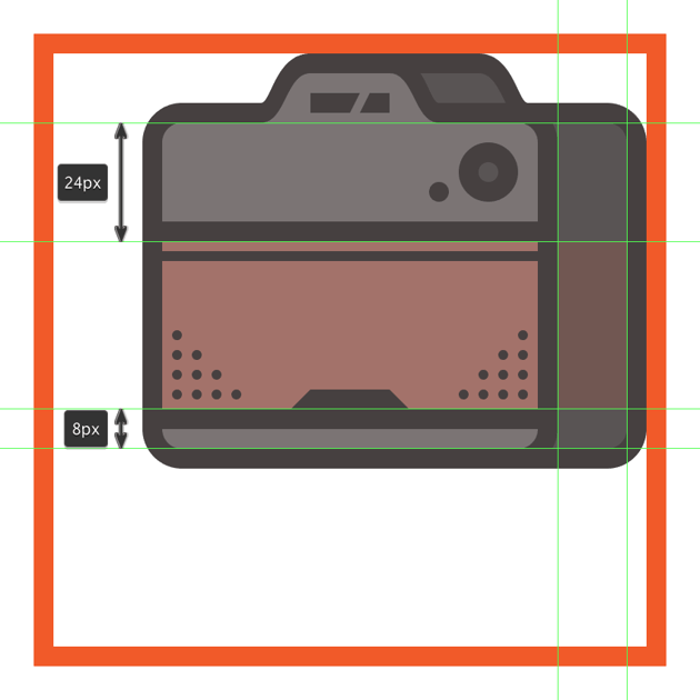 creating and positioning the main shape for the cameras side leather section
