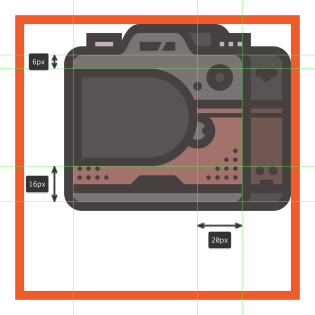 creating and positioning the main shapes for the cameras lens body