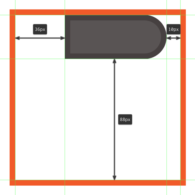 creating and positioning the main shapes for the flashs upper side section