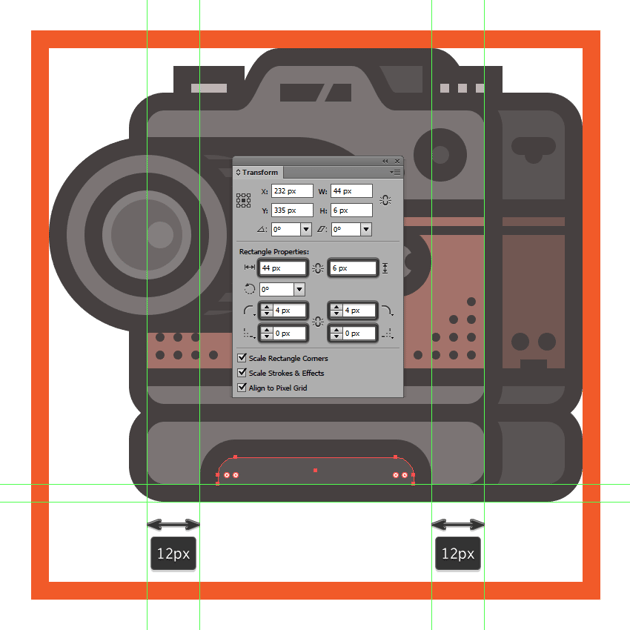 creating and positioning the main shapes for the rubbery section of the cameras add-on grip