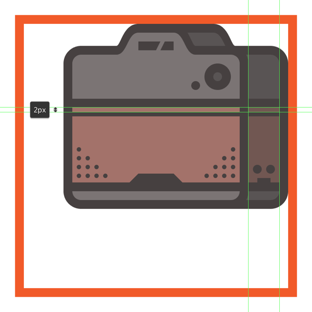 creating and positioning the thinner horizontal divider line onto the cameras side leather section