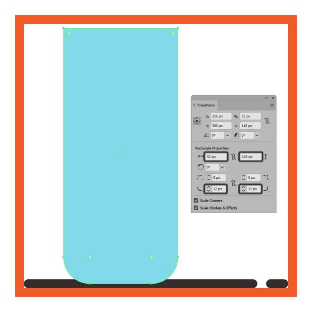 adjusting the bottom corners of the glasss body