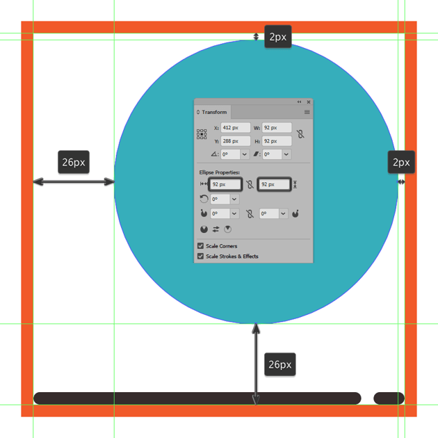 creating and positioning the main shape for the second icons circular present box